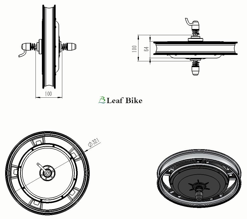 16 inch 48v 1000w front casted hub motor